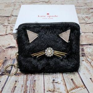 Kate Spade Black Brighton Lane Dani Fuzzy Cat